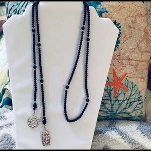 Silpada Silver, Glass Bead & Onyx Lariat Necklace